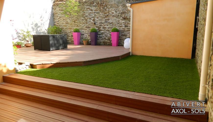 gazon synthetique terrasse bois